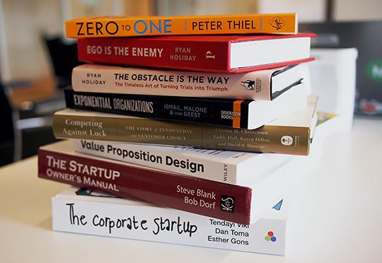 Close up of books on start-ups